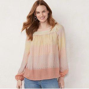 LC checkered pintuck peasant blouse, XL